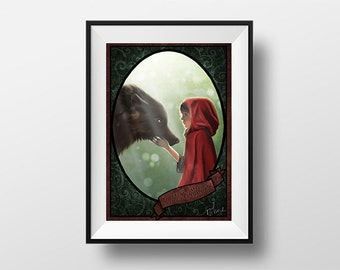 Post the Riding Hood and Wolf - Digital Illustration printed on A4 photo paper