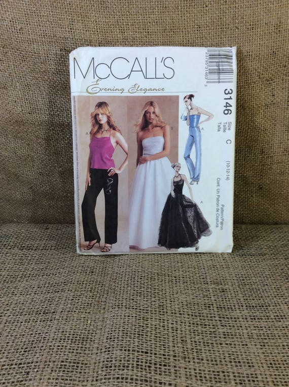McCalls 3146, evening elegance sewing patter, uncut sewing pattern 2001, sexy evening wear to sew, sew your own wardrobe, 2.50 US shipping
