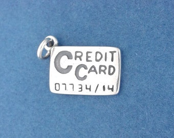CREDIT CARD Charm .925 Sterling Silver, Charge It Pendant - d38156