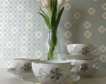 Four Vintage Cup and Saucers with a Green, Gray and Yellow Floral Design by MZ Chechoslovakia 17034