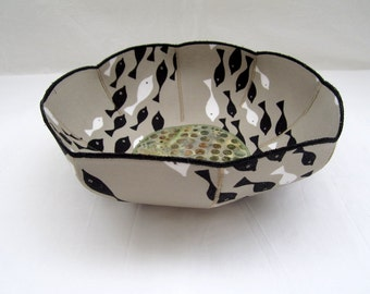 Black and White Fish fabric bowl neutral colors earth tones