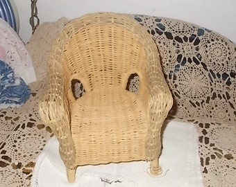 Wicker Doll Chair, Vintage Wicker Green and Natural Doll Wicker Chair, Doll Furniture,  Wicker Doll Furniture, Dolls,