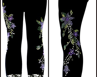 Plus Size Capri Length Leggings Embellished Rhinestone Purple Star Flower Design