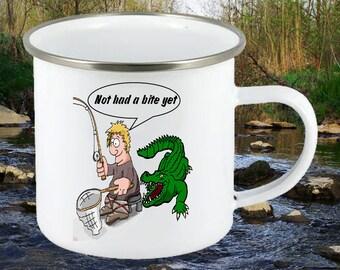 Enamel mug, Fishing mug, Angling gift