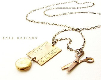 Ruler Scissor Locket Necklace -  one inch tape measure locket necklace, long movable miniature scissor for seamstress designer