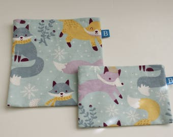 Reuseable Eco-Friendly Set of Snack and Sandwich Bags in Playful Fox Fabric