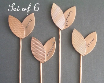 Small Sprout Herb Markers - Custom Set of 6 Garden Markers