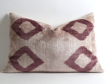 Velvet Ikat Pillow Cover - Purple Cream Velvet Ikat Diamond Throw Lumbar Modern Decorative Pillow For Couch Accent Pillow Velvet Ikat Pillow