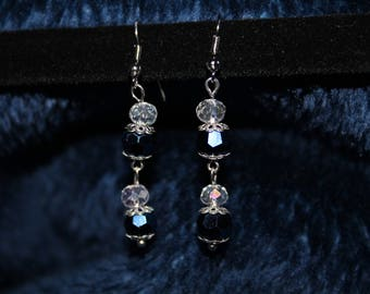 Elegant Silver and Blue Dangle Earrings