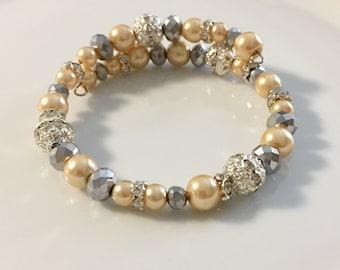 Memory wire beaded pearl bracelet, wrap bracelet