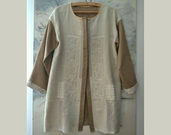 Elegant linen jacket, women's artsy coat, boho jacket, loose jacket sleeves, loose jacket size L, recycled jacket, romantic coat