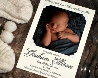 Letterpress Photo Birth Announcement   Letterpress Photo Adoption Announcement   Custom Birth Announcement   LARGE Announcement
