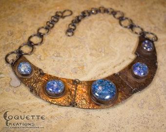 Blue Distressed Glass Quintuple Copper Necklace