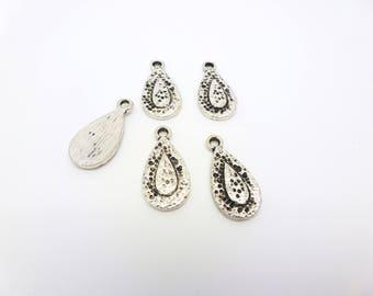 5 ethnic 21 * 10mm Teardrop shape charms antique silver (PHBA02)