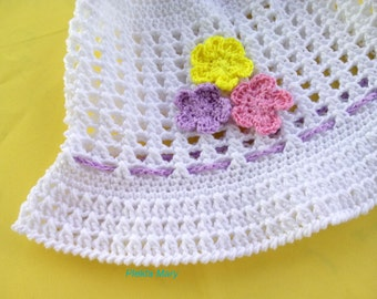 White cotton hat,crochet summer hat,girls summer hat,spring cotton hat,childrens asseccories,wide brimmed hat,girls sun hat, child hat,kids