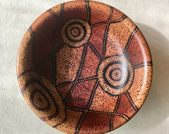 Decorative Wooden bowl Australian Aboriginal design Earthy tones dot painting Geometric shapes and Shark