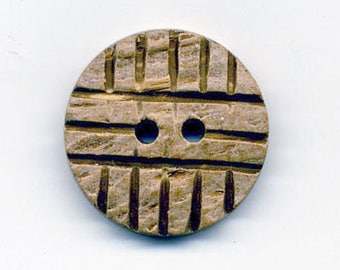 Coconut button raw stripes 22 mm