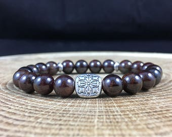 Red Garnet Gemstone Bracelet Healing Yoga Stacking Protecting 18cm 74