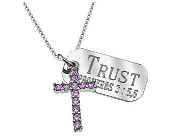 Pink Cross Necklace /Custom Verse Tag- Women's