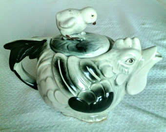 Rare Vintage Black and White Hen Porcelain or China Teapot With Chick on Top of Lid
