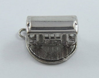 Mechanical San Francisco Cable Car or Trolley That Turns Sterling Silver Charm or Pendant.