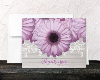 Rustic Purple Daisy Thank You Cards - Floral & Light Gray Wood - Printed Cards