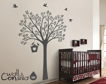 "Nursery Tree Wall Decal Wall Sticker - Tree Wall Decal - Tree Decals - Large: approx 73"" x 53"" - W035"