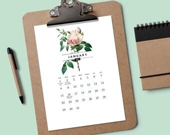 Printable 2017 Calendar - Vintage Roses - PDF Calendar - Rose Calendar - Calendar Download - Calendar Template - 2017 Calendar Template