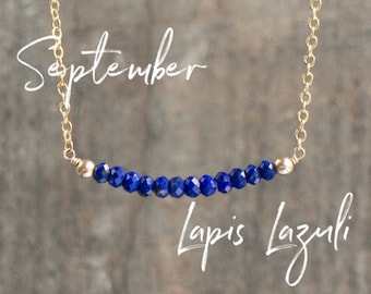 Lapis Lazuli Necklace, Delicate Necklace, Bridesmaids Gift for Women, September Birthstone Necklace, Blue Gemstone Bar Necklace, Jewelry