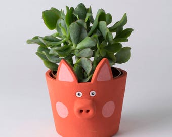 Pig Plant Pot, Ceramic Pig, Pig Decor, Pig Lover, Pig Home Decor, Pig Cactus Pot