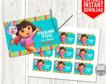 Dora Thank You Tags, Dora the Explorer Tags, Dora Birthday Party, Dora Party Favors, Dora Favor Tags, Editable PDF, Instant Download