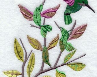 Hummingbird Dance Embroidered Flour Sack Hand/Dish Towel