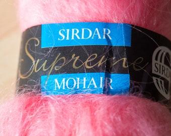 Sirdar supreme mohair knitting yarn, pink flamingo colour, 50g balls, 50% wool