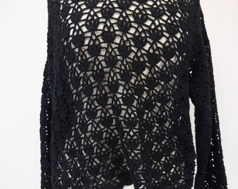 Lace Crop Top, 80s Cropped Shirt, Women's Size Large, Black Lace Blouse, Crochet Knit Top, Sheer Woven Top, Croquet Club