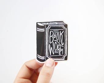 Book Worm Vinyl Sticker