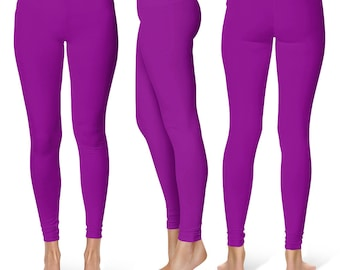 Purple Leggings, Workout Yoga Pants, Mid Rise Waist Gym Pants