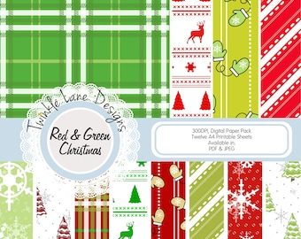 Paper Pack Christmas, Traditional Christmas, Papercrafting Paper, Prints, PDF Papercraft, Printable, Digital Paper, Twelve A4 Pages, Xmas