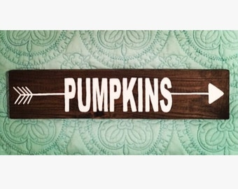 Pumpkin Wood Sign, Fall, Autumn, Halloween, Thanksgiving, Arrow, Rustic Sign, Handmade Wood Sign, Hand Painted Wood Sign, Holiday Gift