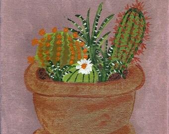 8x10 still life acrylic cacti, artist original