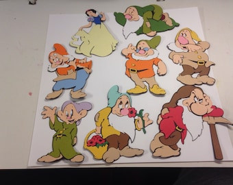 Large sized Snow White and the Seven Dwarfs die cuts. 8 3/4-10""