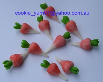 24 edible 3D RADISH VEGETABLE peter Rabbit theme harvest farm garden cake cupcake wedding topper decoration wedding birthday engagement