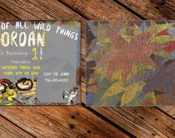 Where the wild things are King of all the wild things birthday invitation