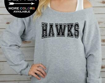 HAWKS Off Shoulder Raw Edge Sweatshirt for Women // GLITTER // Hockey, Mascot, Football Shirt, Sports Tee, Plus Sizes (Black Glitter)