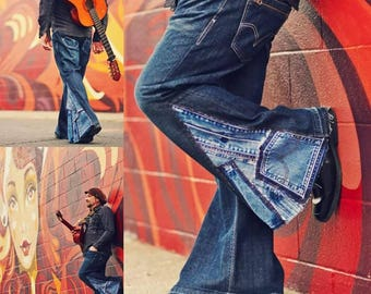 Bell Bottoms Denim Jeans Patchwork Jeans for Men or Women Custom Made