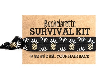 Pineapple Bachelorette Hair Tie Favor | Beach Bachelorette Hair Tie Favor, Black + Gold Pineapple Hair Tie Favors, Bachelorette Survival Kit