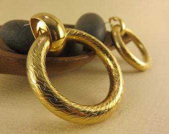 Gold Circle Earrings Stud Vintage Earrings Bold Earrings