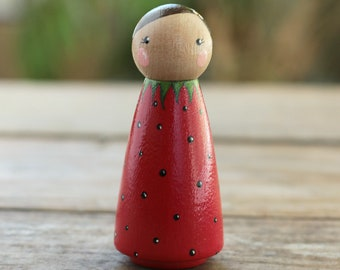 Strawberry Peg Doll, Spring Peg Doll, Strawberry Cake Topper, Folk Art Wood Doll, Spring Wood Toy, Spring Cake Topper, Strawberry Ornament