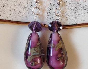 Murano Glass Dangle Earrings,Venetian Glass Drop Earrings,Purple Earrings,Glass Earrings,Elegant Earrings,Shiny Earrings,Teardrop Earrings