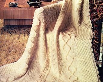 Afghan Crochet Pattern, Chenille Aran Crochet Afghan Pattern, Tunisian Crochet Pattern, PDF INSTANT Download Pattern (1009)
