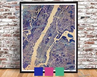 vintage manhattan street map nyc streetmap new york city ny streetmap big